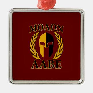 Molon Labe Spartan Mask Laurels Burgundy Red Christmas Ornament