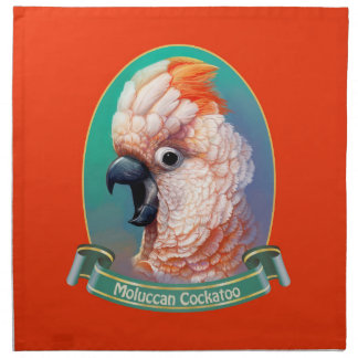 Moluccan Cockatoo realistic painting Napkin