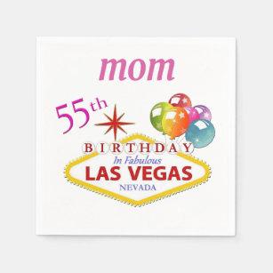 MOM 55th Las Vegas Birthday Cocktail Paper Napkins