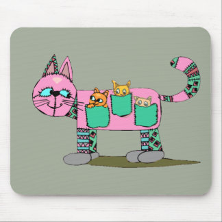 Mom Cat Carrying Her Cute Curious Kittens Mouse Pad