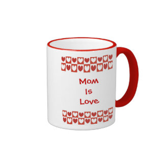 Mom is Love, red & white hearts in squares mug