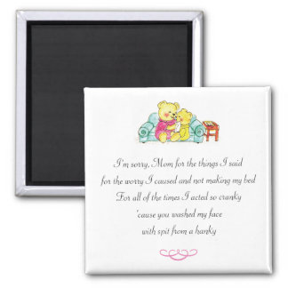 Mom Spit From Hanky Funny Teddy Bear Poem Magnet