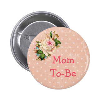 """Mom To Be"" Baby Shower Button Coral with Rose"
