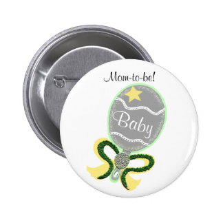 Mom-To-Be Yellow Star Green Bow Baby Rattle Shower Button