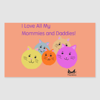 Mommies and Daddies Polyamory Family Products Rectangular Sticker
