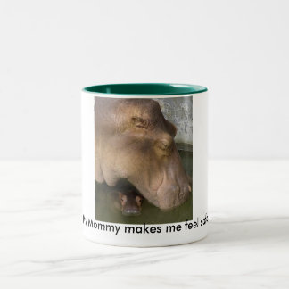 Mommy & baby hippo Two-Tone coffee mug