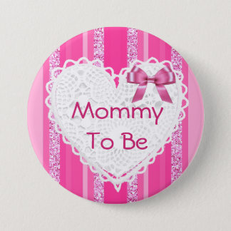 Mommy to be Pink Bow Striped Baby Shower Button