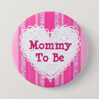 Mommy to be Pink Striped Baby Shower Button