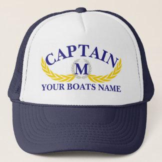 Momogrammed boat name anchor motif captains trucker hat