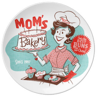 Mom's Bakery Retro Porcelain Plate (CUSTOMIZABLE)