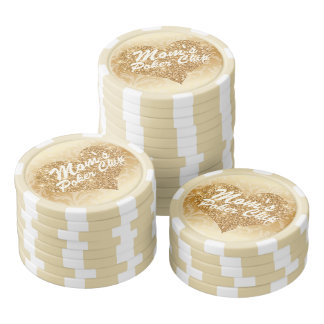 Mom's Poker Chip Gold Faux Glitter Heart Floral