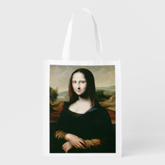 Mona Lisa, copy of the painting by Leonardo da Vin Reusable Grocery Bag