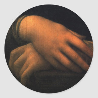 Mona Lisa - hands Classic Round Sticker