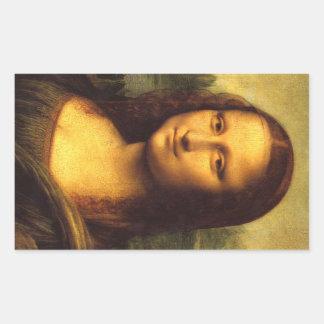 Mona Lisa Head Detail - Leonardo Da Vinci Rectangular Sticker