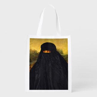 Mona Lisa Hidden Behind Burqa Reusable Grocery Bag