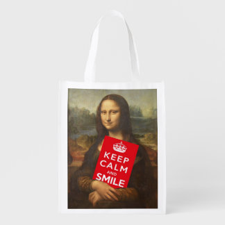Mona Lisa Keeps Calm And Smiles Reusable Grocery Bag