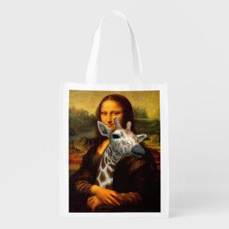 Mona Lisa Loves Giraffes Reusable Grocery Bag
