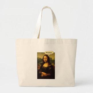 Mona Lisa Porcupines Large Tote Bag