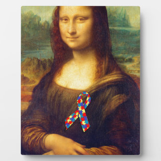 Mona Lisa With Puzzle Ribbon Plaque