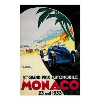 Monaco Grand Prix Car Race Travel Art Poster