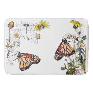 Monarch Butterfly Daisy Flowers Floral Bath Mat