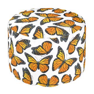 Monarch Butterfly Pattern Pouf