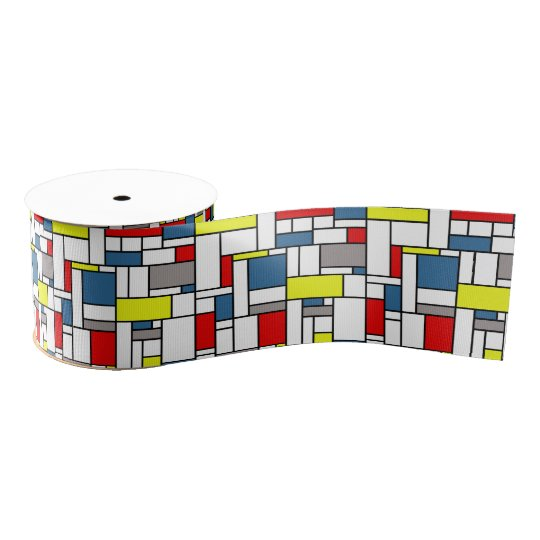 Mondrian style design grosgrain ribbon