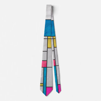 Mondrian Yellow Pink Blue Print Tie