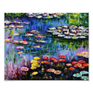 Monet Purple Water Lilies Print