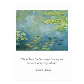 Monetb Artist Quote with Waterlilies Postcard