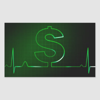 money sign rectangular sticker