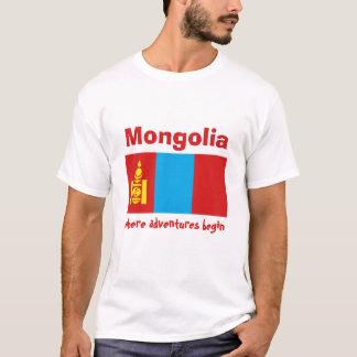 Mongolia Flag + Map + Text T-Shirt