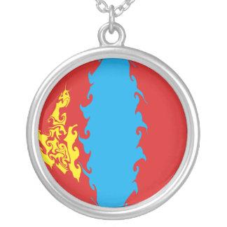 Mongolia Gnarly Flag Round Pendant Necklace