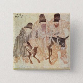 Mongolian nomads with a donkey, 15th century 15 cm square badge