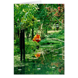 """Monk Reflecting, """"Monk Reflecting""""(c) 2000 by M... Greeting Card"""