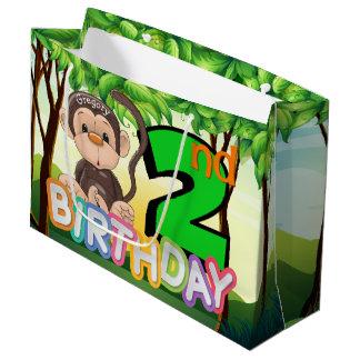 Monkey 2nd Birthday Party Custom Large Gift Bag