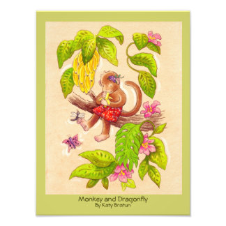 """Monkey and Dragonfly"" Original Children's Art Photo Print"
