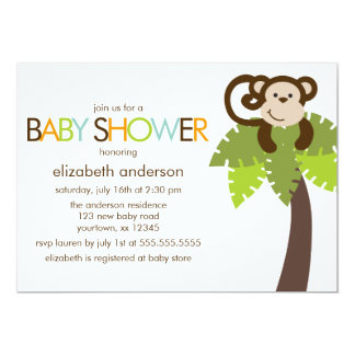 Monkey and Polka Dots Pattern Baby Shower Cards