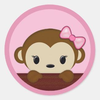 MONKEY Baby Shower Polka Dot PINK GIRL Seal