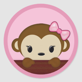 MONKEY Baby Shower Polka Dot PINK GIRL Seal Round Sticker
