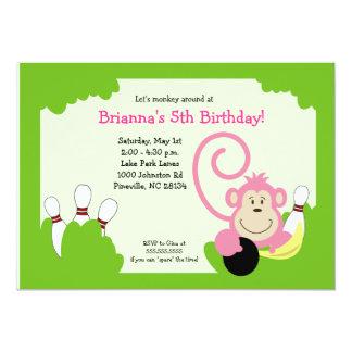 Monkey Bowl Bowling Party Birthday 5x7 13 Cm X 18 Cm Invitation Card