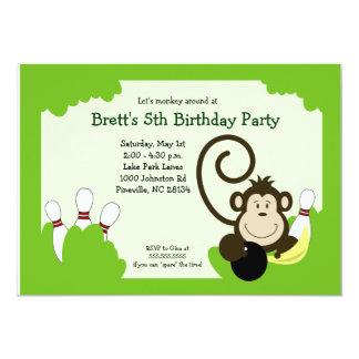 "Monkey Bowl Bowling Party Birthday 5x7 5"" X 7"" Invitation Card"