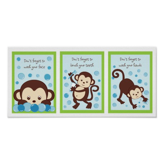 Monkey Bubbles Kids Bathroom Wall Art Print Zazzle Co Nz