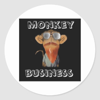 monkey business classic round sticker