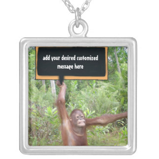 Monkey Business Protest Sign Silver Plated Necklace