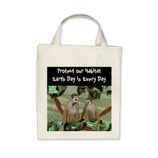 Monkey Habitat Organic Grocery Tote Bags
