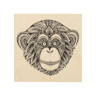Monkey Illustartion Doodle 5 Wood Print