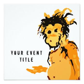monkey ink 13 cm x 13 cm square invitation card
