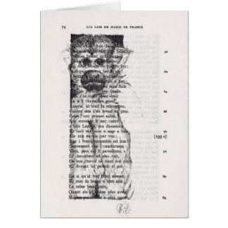 Monkey Sketch on Vintage Book Page card