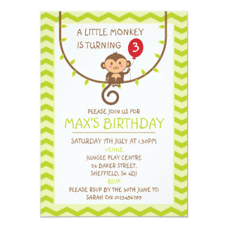 Monkey themed birthday party invitation